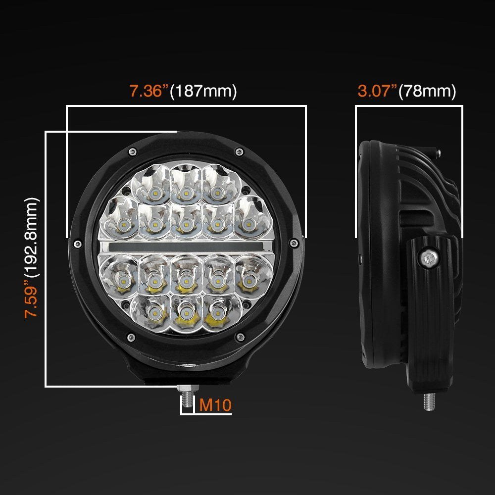Primelux 7-inch Round Off Road LED Driving Light with Daytime Running Light - (Single)