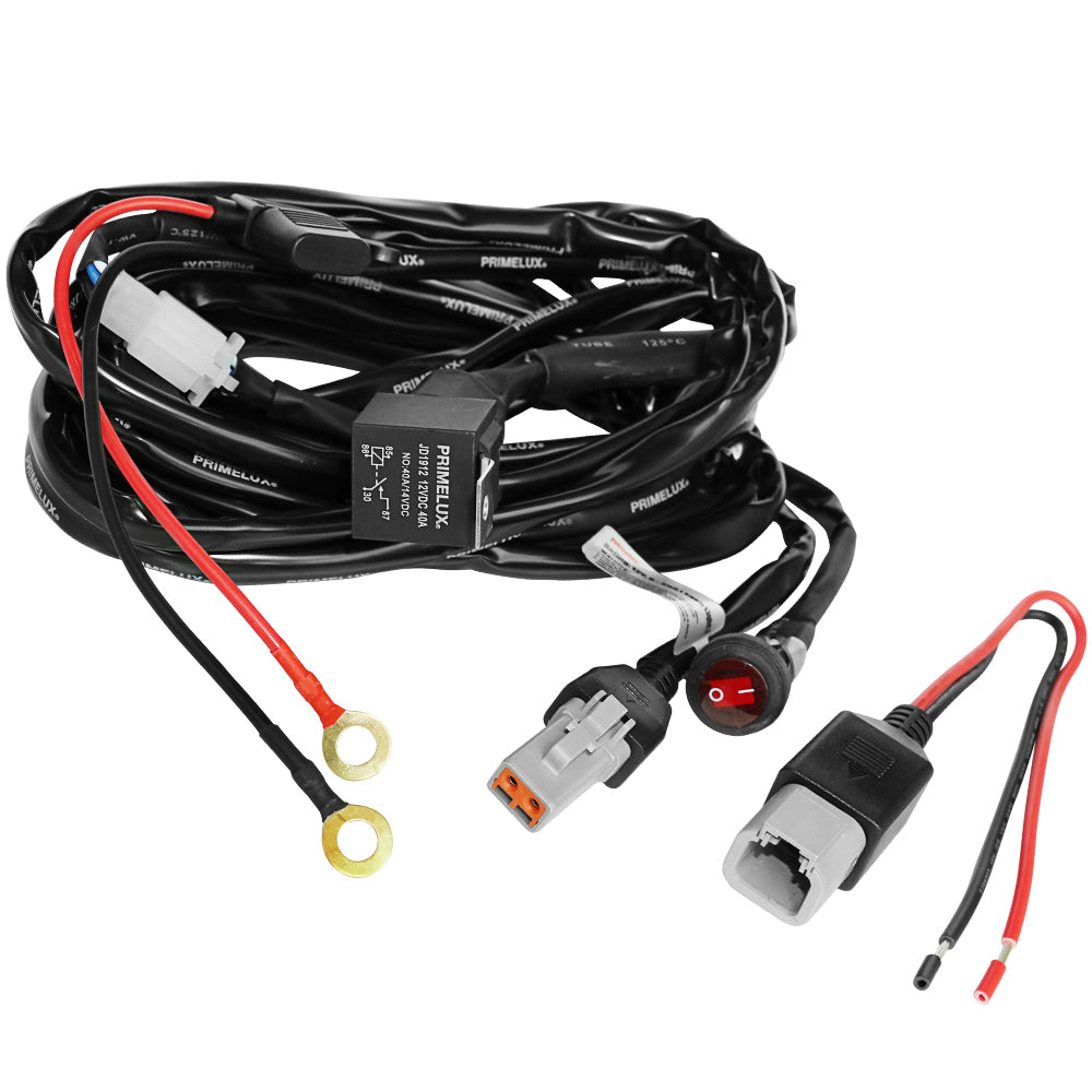 12ft 14 AWG Relay Wiring Harness with On/Off Switch (1-lead / 2-lead)