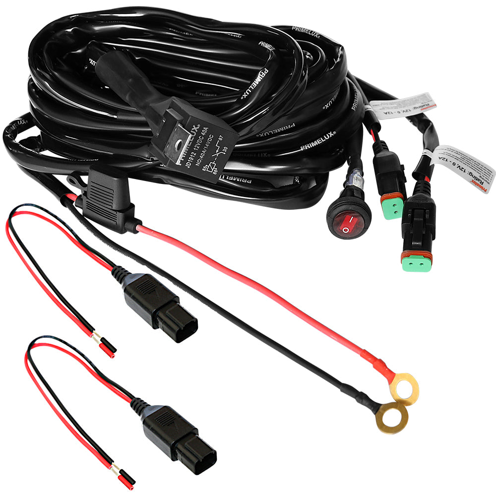 Primelux 12ft 16 AWG Relay Wiring Harness with On/Off Switch & DT Connectors for Off Road LED Lights (1-lead / 2-lead)