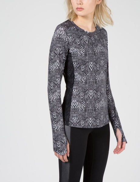 Celeste Printed Tech Active Wear Top - Black