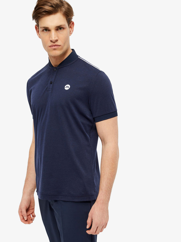 M Bevin Cotton Blend Bomber Collar Polo - Navy Melange