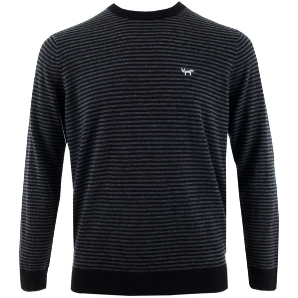 Fine Stripe Crew Neck Merino Sweater - Black-Noir