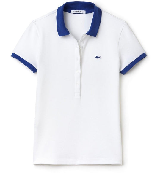 Stretch Polo with Contrast Collar - White/Delta