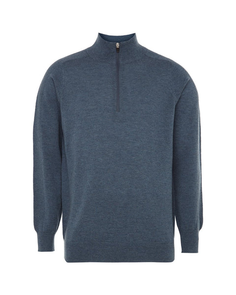 1/4 Zip Merino Sweater - Indigo