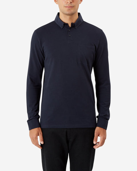 Long Sleeve Cotton Button Down Pique Polo - Total Eclipse