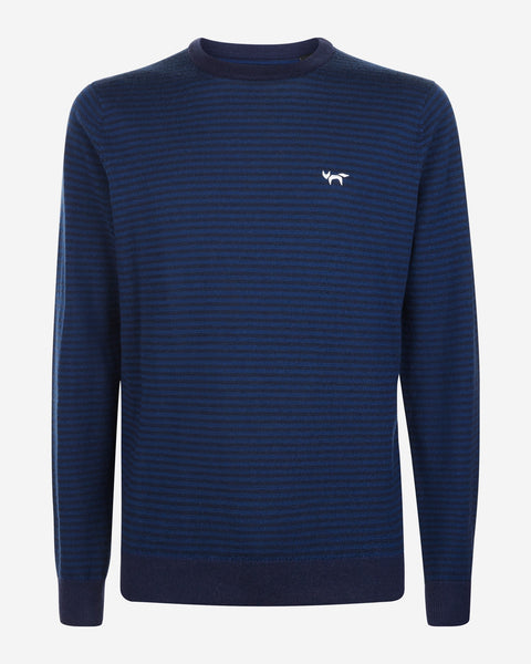 Fine Stripe Crew Neck Merino Sweater - Total Eclipse