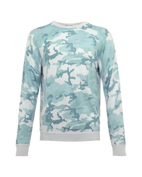 Cashmere Cotton Camo Crew Neck Sweater - Cambridge