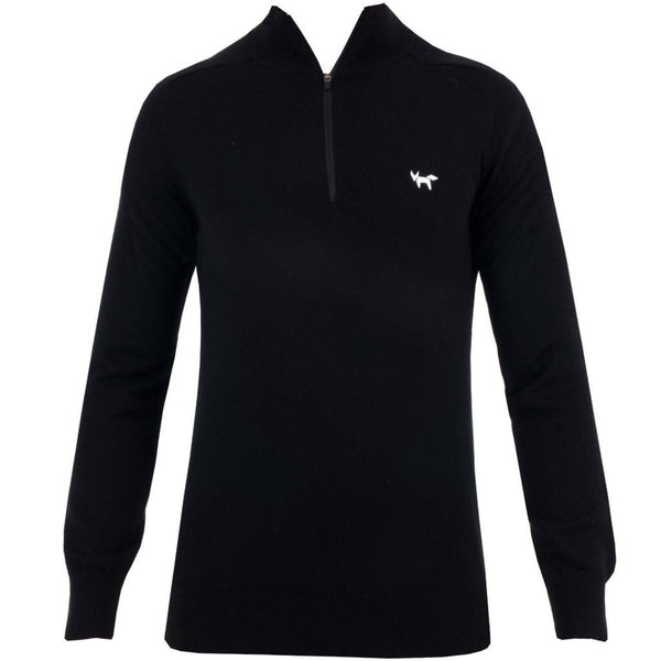 1/4 Zip Merino Sweater with Fox Logo Chest - Black