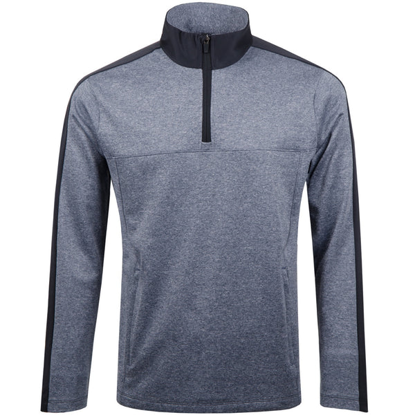 Colour Split 1/4 Zip Sweater - Total Eclipse Melange