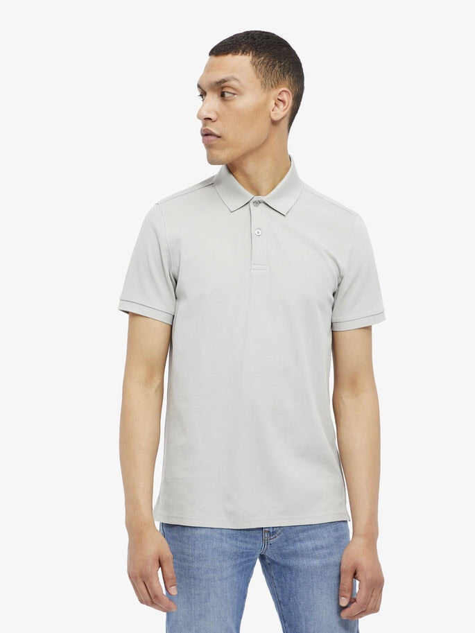 Troy Clean Pique Polo - Stone Grey