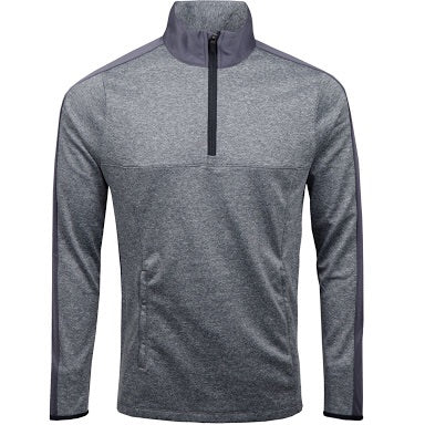 Colour Split 1/4 Zip Sweater - Grey Melange