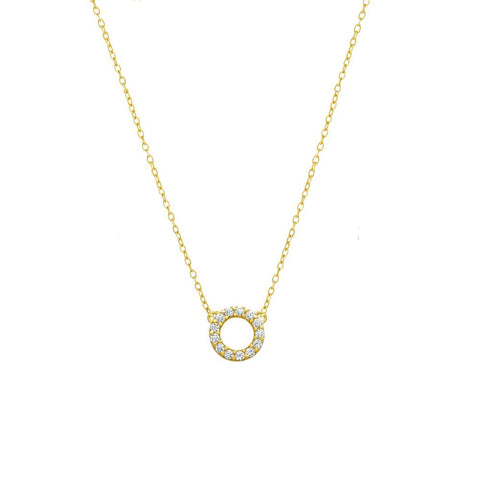 Tiny Sterling Silver Circle Cut Out Necklace