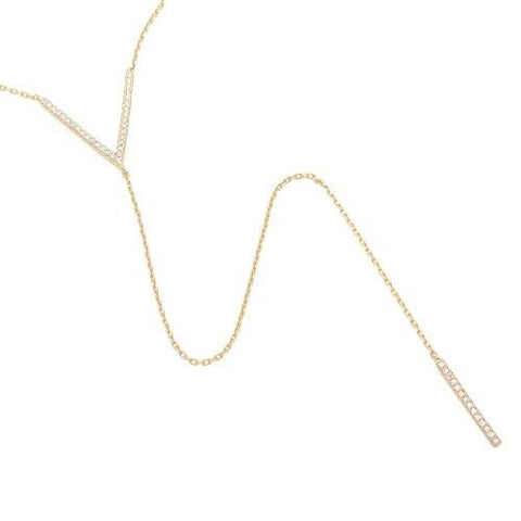 Sterling Silver V Lariat Necklace