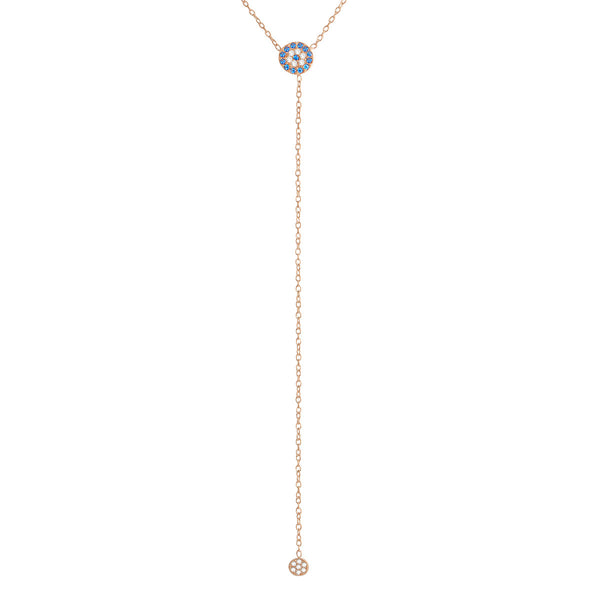 Blue Evil Eye Lariat Necklace