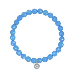 Small Blue Evil Eye on 6mm Turquoise Magnesite