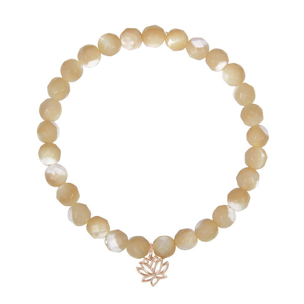 Lotus Flower on 6mm Tan Mother of Pearl