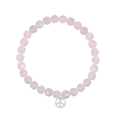 Peace Sign on 6mm Rose Quartz
