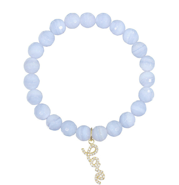 Love Charm on 8mm Blue Chalcedony