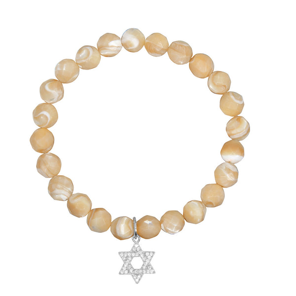 Star of David on 8mm Tan Mother of Pearl