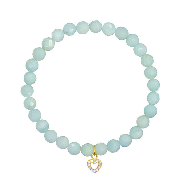 Small Heart on 6mm Amazonite