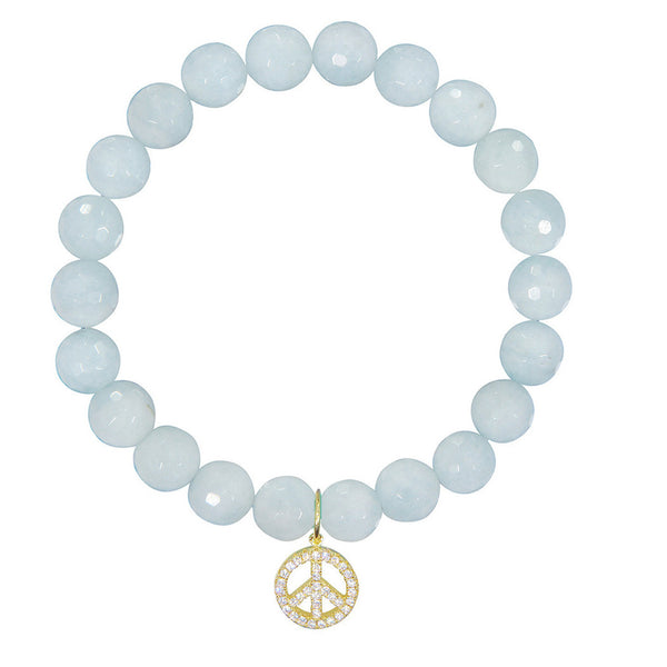 Peace Sign on 8mm Aquamarine