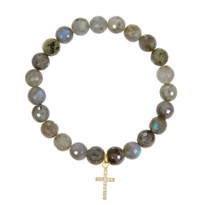 Cross on 8mm Labradorite