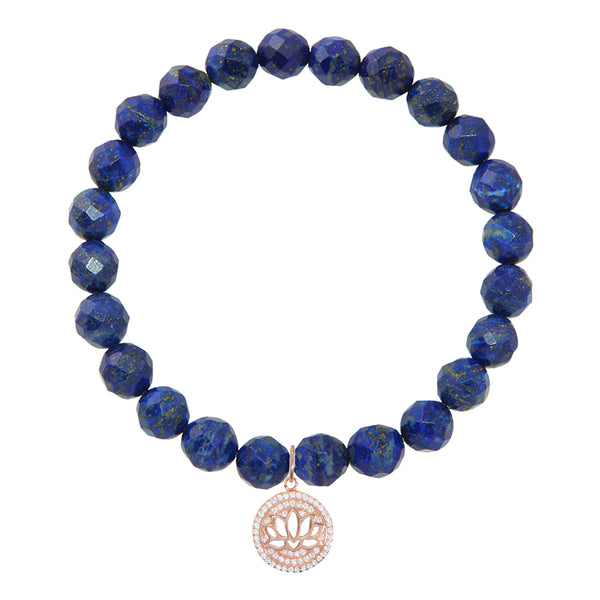 Lotus Flower on 8mm Lapis