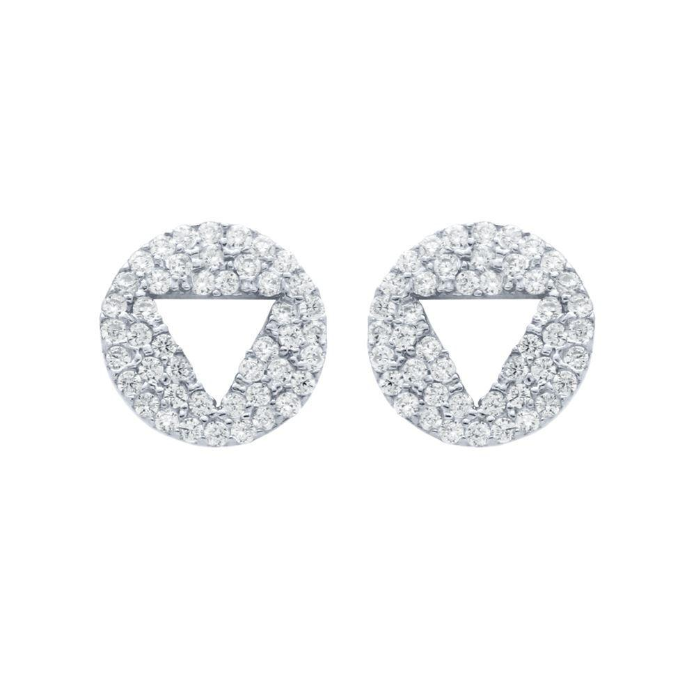 Triangle Cut Out Disc Stud Earrings