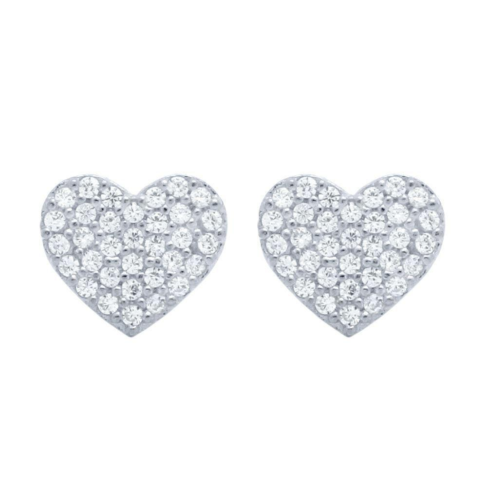 Sterling Silver Heart Disc Stud Earrings