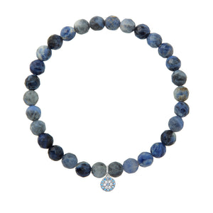 Small Blue Evil Eye on 6mm Sodalite