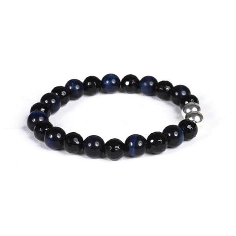 8mm Black Onyx and Blue Tigers Eye with Sterling Silver Accent Beads