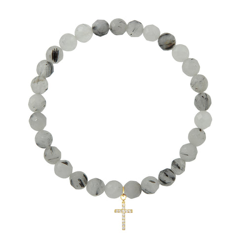 Cross on 6mm Black Rutilated Quartz