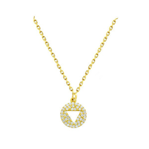 Triangle Cut Out Disc Necklace