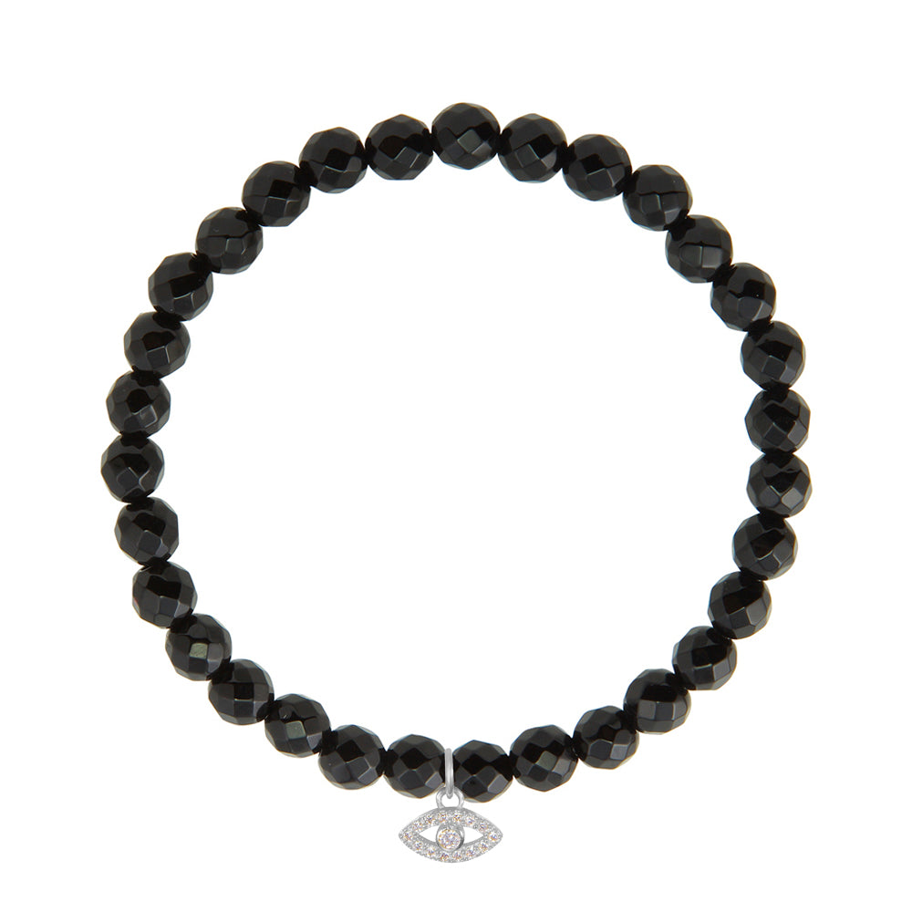 Evil Eye on 6mm Black Onyx