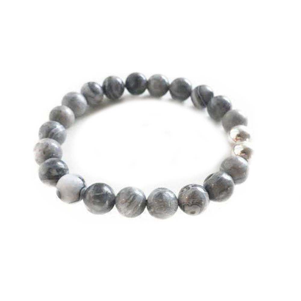 8mm Gray Agate with Sterling Silver Accent Beads