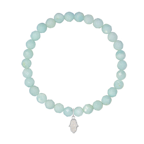 Hamsa on 6mm Amazonite