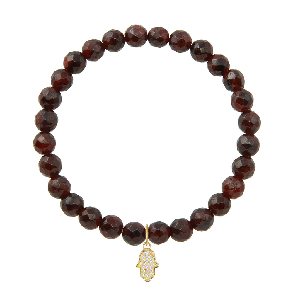 Hamsa Hand on 6mm Garnet