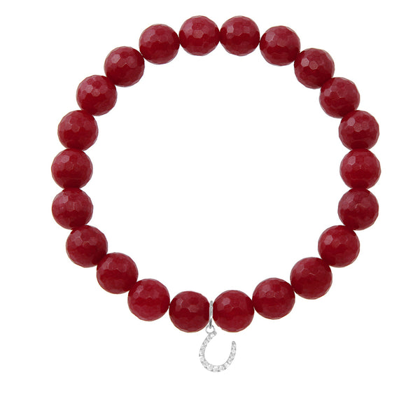 Horseshoe on 8mm Ruby Jade