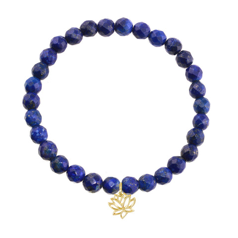 Lotus Flower on 6mm Lapis