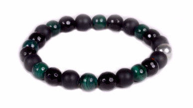Onyx and Malachite Beaded Bracelet