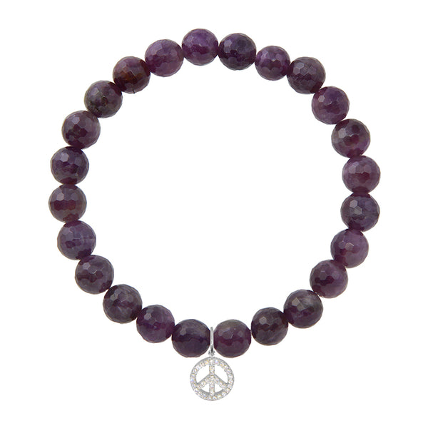 Peace Sign on 8mm Amethyst