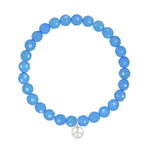 Peace Sign on 6mm Turquoise Magnesite
