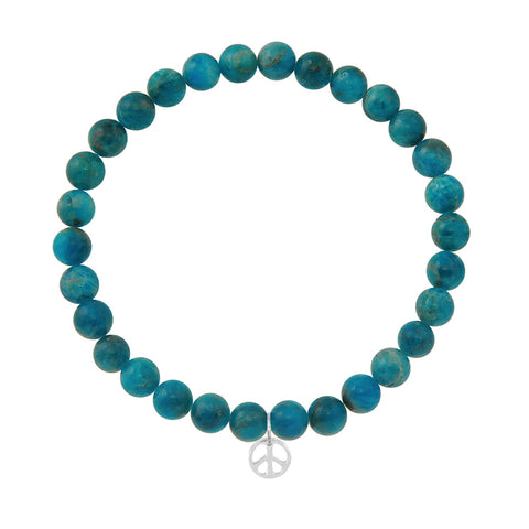 Peace Sign on 6mm Apatite