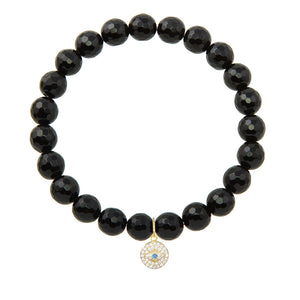 Round Evil Eye on 8mm Black Onyx