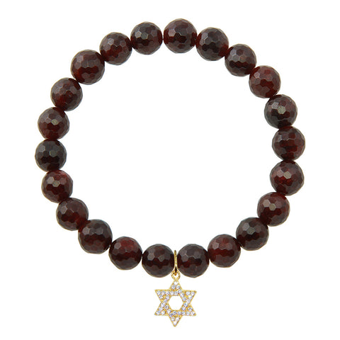 Star of David on 8mm Garnet