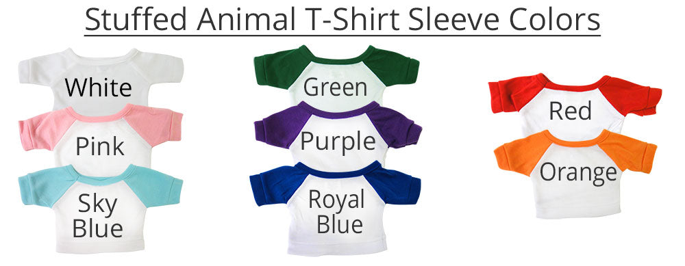 Examples of shirt sleeve color options for stuffed animal T-Shirts