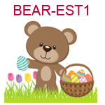 BEAR-EST1 A brown teddy bear holding a basket full of Easter eggs