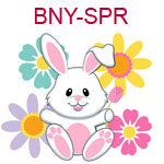 BNY-SPR A white bunny sitting in colorful flowers
