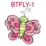 BTFLY-1 A pink and green butterfly