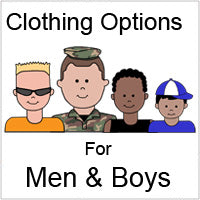 Clothing options for men and boys for cartoon family labels and gifts